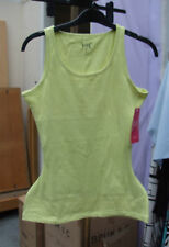BNWT FAB Yummie Tummie All Cotton Shaping Lemon Yellow Tank Top sz S Dual Fabric