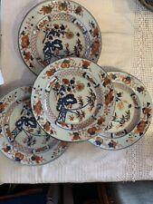chinese antiques XCIII eme 4 Assiettes Decor Imari Motif Floral Et Palmiers