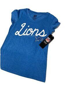 🌴🏈 Detroit Lions Blue Vneck Short Sleeve NFL Football Small S SS Girls 🌴