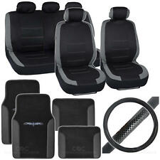 Auto Interior Set Car Seat Cover, Mat & Steering Wheel Cover - Black / Gray