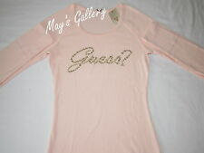 GUESS Jeans Rhinestones  Tank T-shirt Tee T shirt  Top Blouse Pink  Long NWT  M