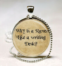 Alice In Wonderland Necklace Why Is A Raven Like A Writing Desk Mad Hatter