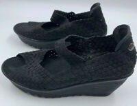 Bernie Mev 9 39 Black Woven Mary Jane Slip On Wedges