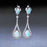 White Fire Opal Ear Stud Hook Dangle Earrings Fashion Wedding Engagement Jewelry