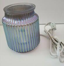Fluted Gray Scentsy Warmer EUC Glass Tart Wax Burner iridescent