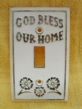 Vintage God Bless Our Home Lightswitch Cover Flowers Gold Cream Light Switch T96