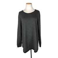 Eileen Fisher Size L Striped Sweater Tunic 100% Merino Wool
