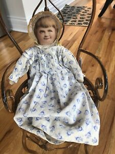 """Antique 1900's  Lithograph Cloth Doll 15"""" gorgeous And Lively!"""