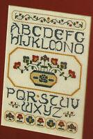 Folk Art Sampler Cross Stitch Pattern Chart from magazine Harvest blooms