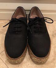 KURT GEIGER Black Oxford Creepers Gold Glitter Platforms Rare Festival Shoes 36