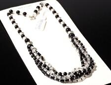 "20"" 5 strand necklace black crystal round pentagon Czech vintage glass beads"