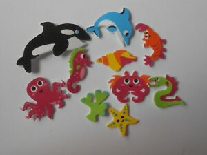 PACK 10 MIXED SEA LIFE FOAM GREAT ADDITION FOR CARDS OR CRAFTS