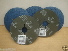 5 X BOSCH 115MM INOX ANGLE GRINDER FIBRE BACKED SANDING DISCS 36GRIT