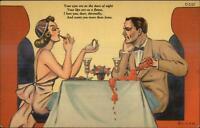 Curt Teich SCARCE Wine & Dine Comic Romance Sexy Romance Dinner Linen PC