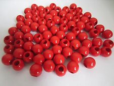 """Lot of 80 Red Wood Round Macrame Wooden Craft Jewelry Beads 13/16"""" 20mm"""