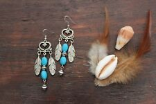 Stunning Handmade Turquoise & Silver Heart & Feather Dangle Drop Charm Earrings