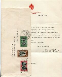 Canada FDC 1939 Royal Visit - Minister of Transport Cover / Letter - Port Arthur
