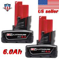 2X For Milwaukee 12V 48-11-2460 M12 Lithium XC 6.0 Battery Pack  Brand New 6.0AH