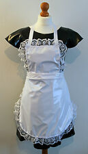 White pvc full pinny apron fancy dress with frilly lace