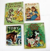 4 Rand McNally Story Books TOBY, SEASHELLS, UGLY DUCKLING & POLLY'S CHRISTMAS
