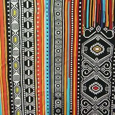 "Ethnic Multicolor Fabric 42"" Wide Pure Cotton Sewing Dress Making By 1 Yd"