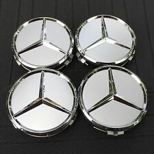 MERCEDES-BENZ (SET OF 4) 75mm SILVER CHROME STAR WHEEL CENTER CAPS WC4PC501 MB1