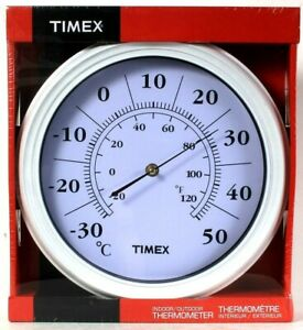 Timex Indoor/Outdoor Thermometer Bold Numeral Dial Precise Temperature Readings