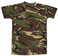 KIDS BOYS CAMOUFLAGE T-SHIRT - ARMY - DPM / WOODLAND CAMO - 5 -13 YEARS - BNWT