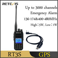 Retevis RT3s DMR Digitales Funkgerät Walkie Talkie GPS Dualband UHF/VHF+Cable