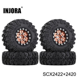 4Pcs CNC Aluminum Beadlock Wheel Rims Tire for 1/24 Axial SCX24 90081 RC Crawler