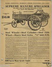1920 PAPER AD Supreme Manure Speader Wagon Royal Banner Farm Plow Horse Walking