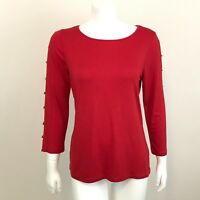 Cable and Gauge Cold Shoulder Stretch Knit Top L Red 3/4 Sleeves w Shiny Accent