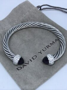David Yurman Cable Candy 925 Silver Amethyst & Diamond 7mm Bracelet