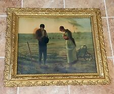 The ANGELUS Jean-Francois Millet Painting Farmers Praying in Gold Frame