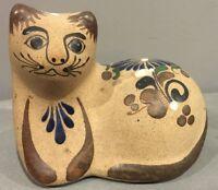 Mexico Tonala Cat Figurine Pottery Folk Art Artist Signed JS