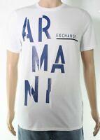 Armani Exchange Mens T-Shirt White Size Small S Graphic Logo Slim Tee $50- #311