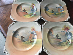 4 ROYAL DOULTON PIPES OF PAN D4784 SERIESWARE SMALL SQUARE 15CM PLATES