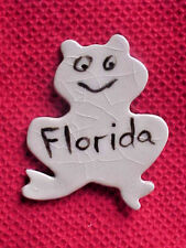 Hand crafted ceramic clay pottery magnet Whimsical Florida Frog froggie animal