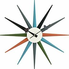 George Nelson Wall Clock Furniture Sunburst Multi-Color Reproduct From Japan New