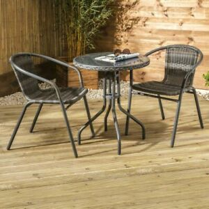 Croft Urban Grey Belsay Rattan Wicker Bistro Set 1 Table Seat Back Made Easy New
