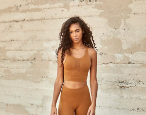 NEW Free People Movement Seamless Ecology Crop Bra Gold Made In Italy | FF-117