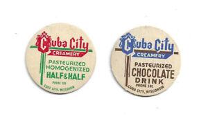 Cuba City Creamery Wisconsin. 2 Milk Bottle Caps, Half & Half & Chocolate Drink