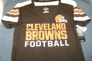 CLEVELAND  BROWNS  SHIRT  WOMENS  SMALL  NEW $32 MAJESTIC NFL L@@K