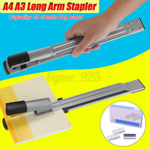 A3/A4 Long Arm Reach Staplers Metal With 1000pcs Staples 25 Sheets Capacity AU