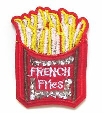 French Fries Iron On Patch- Embroidered Chips Applique Badge Crafts Sew Patches
