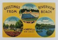 Postcard Linen Greetings From Pennsville New Jersey Multi Scene