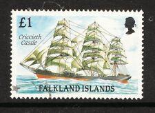 FALKLAND IS 1989 £1 SHIP CRICCIETH CASTLE 1v FINE USED (No 2)