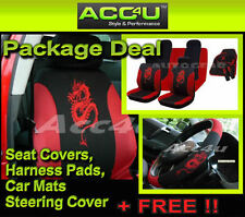 13 Pc Black Red Dragon Logo Car Seat Covers Set Mats Steering Cover Shoulder Pad