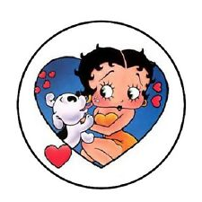 "48 Betty Boop and dog with hearts!!!  ENVELOPE SEALS LABELS STICKERS 1.2"" ROUND"