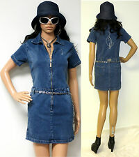VINTAGE AUTHENTIC BABY PHAT STRETCH DENIM ZIP FRONT DRESS ROMPER SMALL